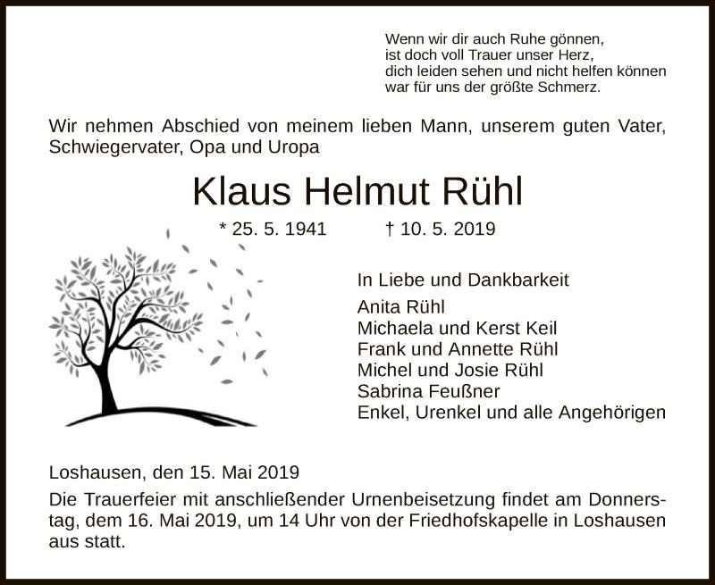 Traueranzeige für Klaus Helmut Rühl vom 15.05.2019 aus HNA