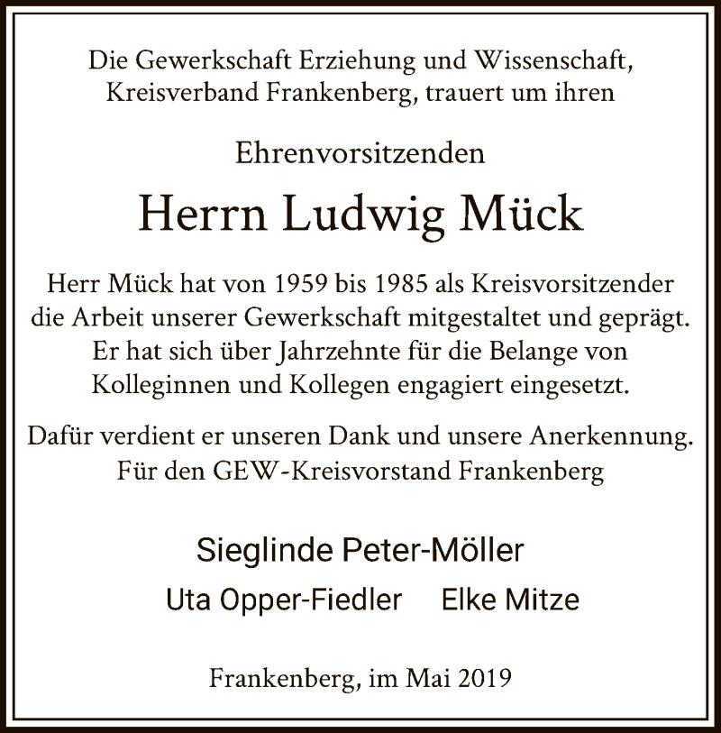 Traueranzeige für Ludwig Mück vom 17.05.2019 aus HNA