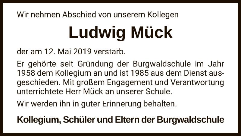 Traueranzeige für Ludwig Mück vom 18.05.2019 aus HNA