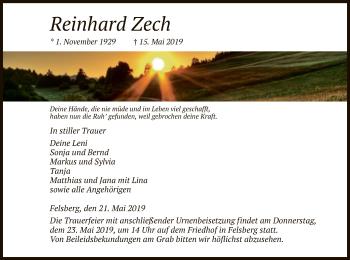Traueranzeige für Reinhard Zech vom 21.05.2019 aus HNA