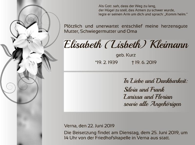 Traueranzeige für Elisabeth Kleimann vom 22.06.2019 aus HNA