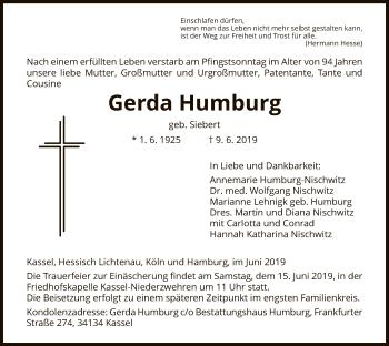 Traueranzeige für Gerda Humburg vom 12.06.2019 aus HNA