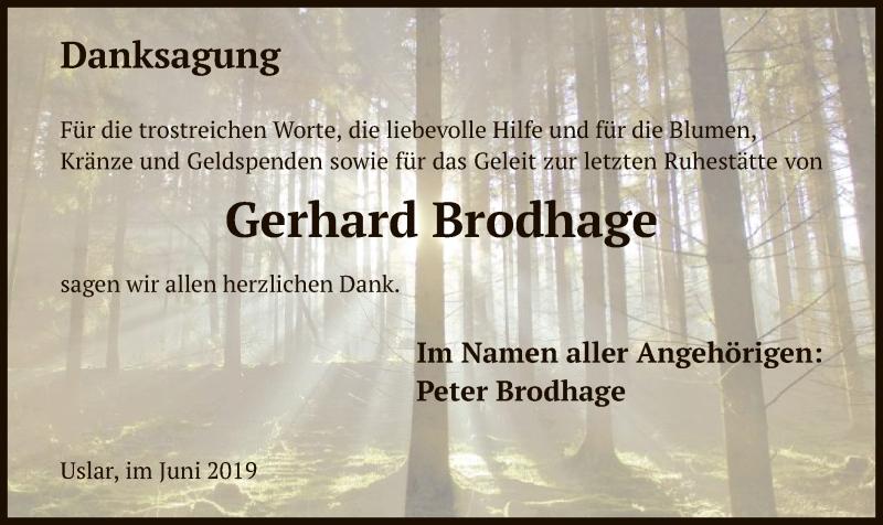 Traueranzeige für Gerhard Brodhage vom 08.06.2019 aus HNA