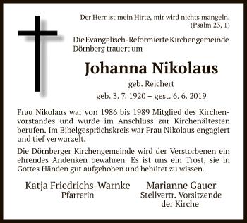 Traueranzeige für Johanna Nikolaus vom 13.06.2019 aus HNA