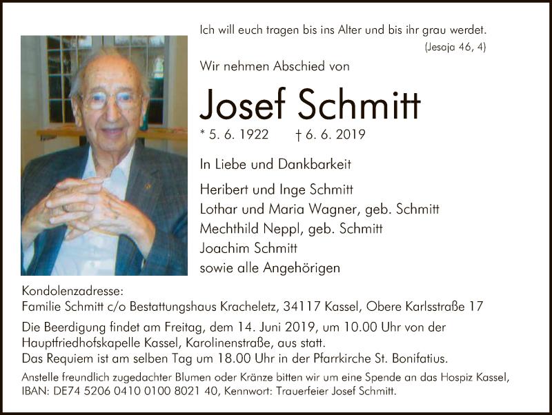 Traueranzeige für Josef Schmitt vom 11.06.2019 aus HNA