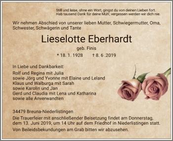 Traueranzeige für Lieselotte Eberhardt vom 11.06.2019 aus HNA