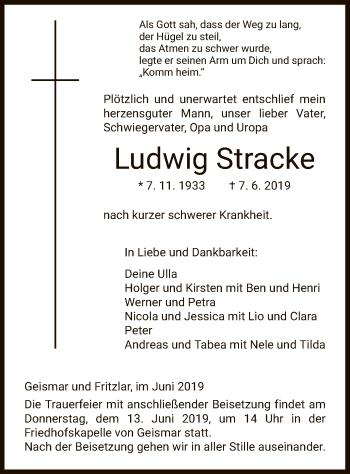 Traueranzeige für Ludwig Stracke vom 12.06.2019 aus HNA