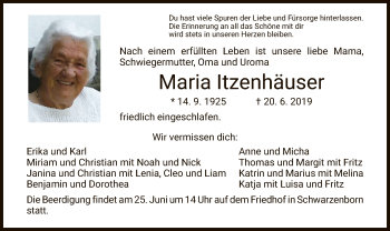 Traueranzeige für Maria ltzenhäuser vom 22.06.2019 aus HNA