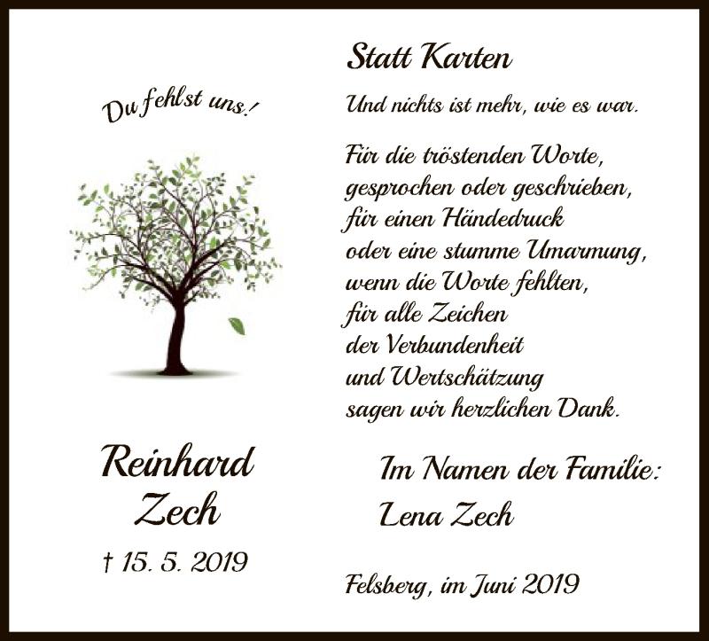 Traueranzeige für Reinhard Zech vom 15.06.2019 aus HNA