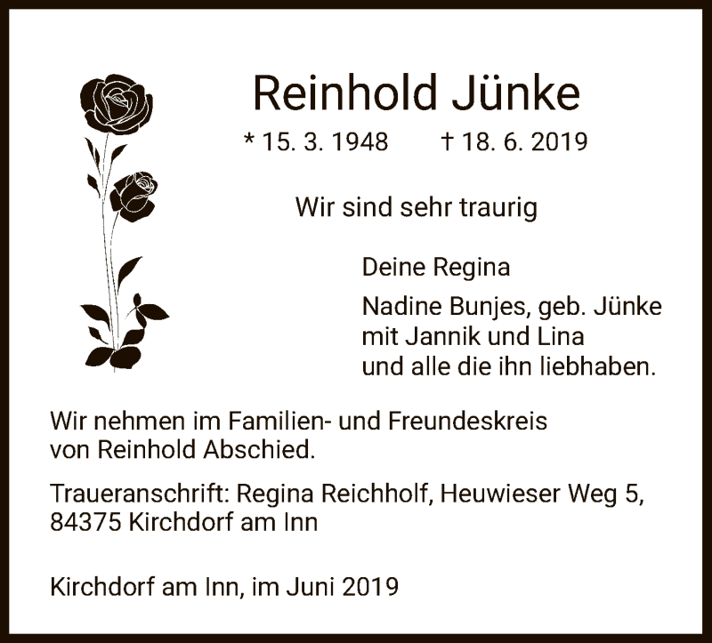 Traueranzeige für Reinhold Jünke vom 22.06.2019 aus HNA