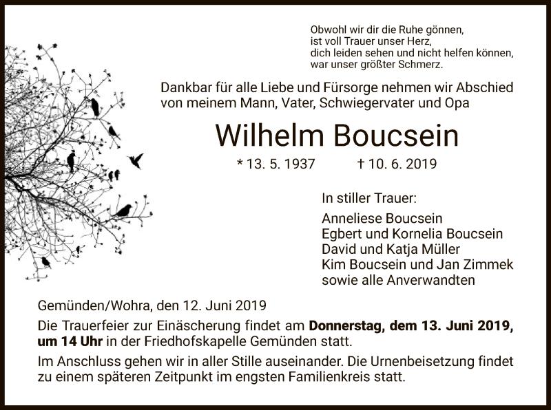 Traueranzeige für Wilhelm Boucsein vom 12.06.2019 aus HNA