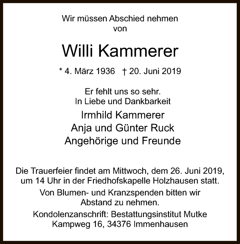 Traueranzeige für Willi Kammerer vom 24.06.2019 aus HNA