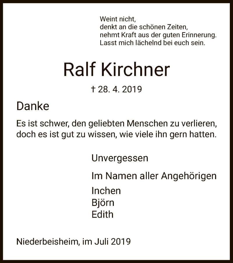 Traueranzeige für Ralf Kirchner vom 06.07.2019 aus HNA