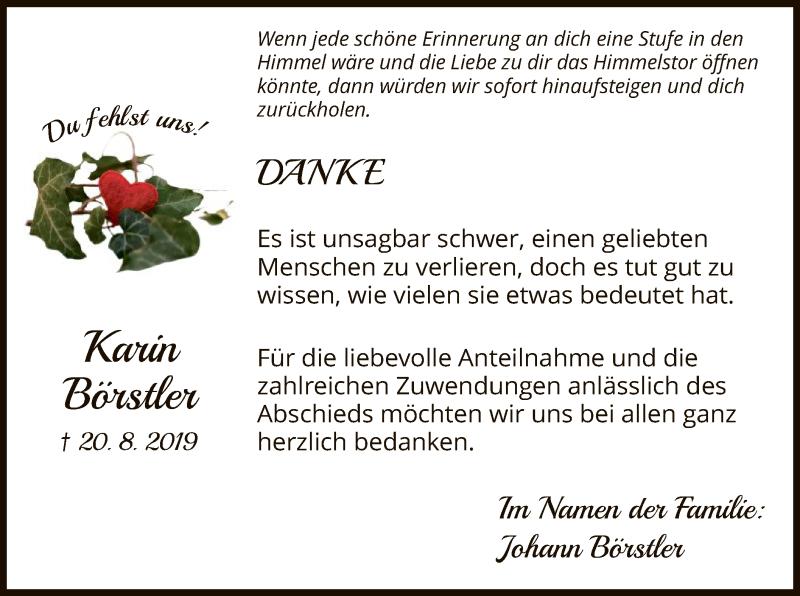 Traueranzeige für Karin Börstler vom 21.09.2019 aus HNA