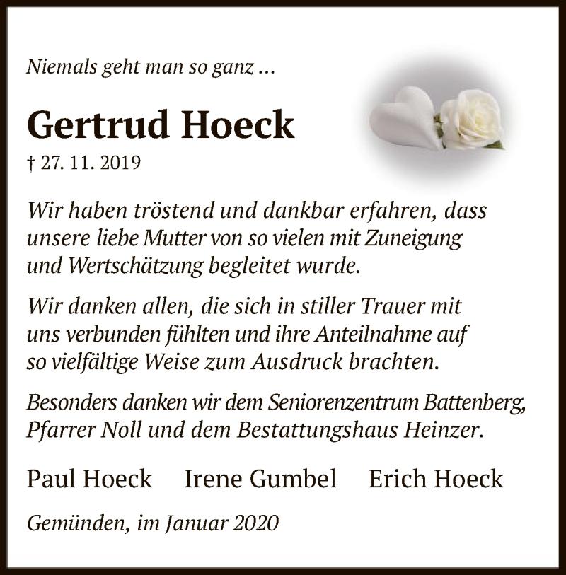 Traueranzeige für Gertrud Hoeck vom 11.01.2020 aus HNA