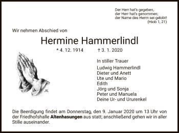 Traueranzeige von Hermine Hammerlindl von HNA