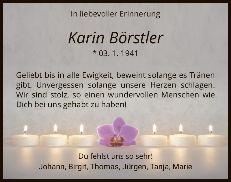 Traueranzeige für Karin Börstler vom 03.01.2020 aus HNA