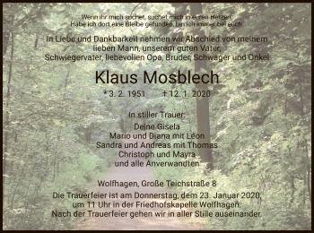 Traueranzeige von Klaus Mosblech von HNA