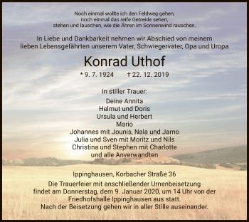 Traueranzeige von Konrad Uthof von HNA