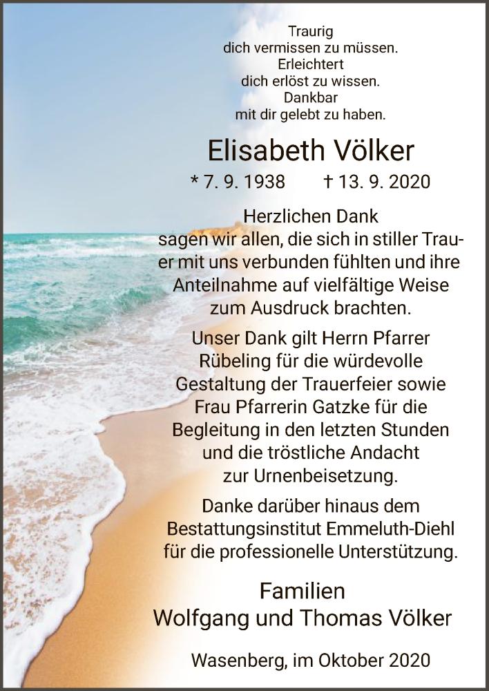 Traueranzeige für Elisabeth Völker vom 24.10.2020 aus HNA