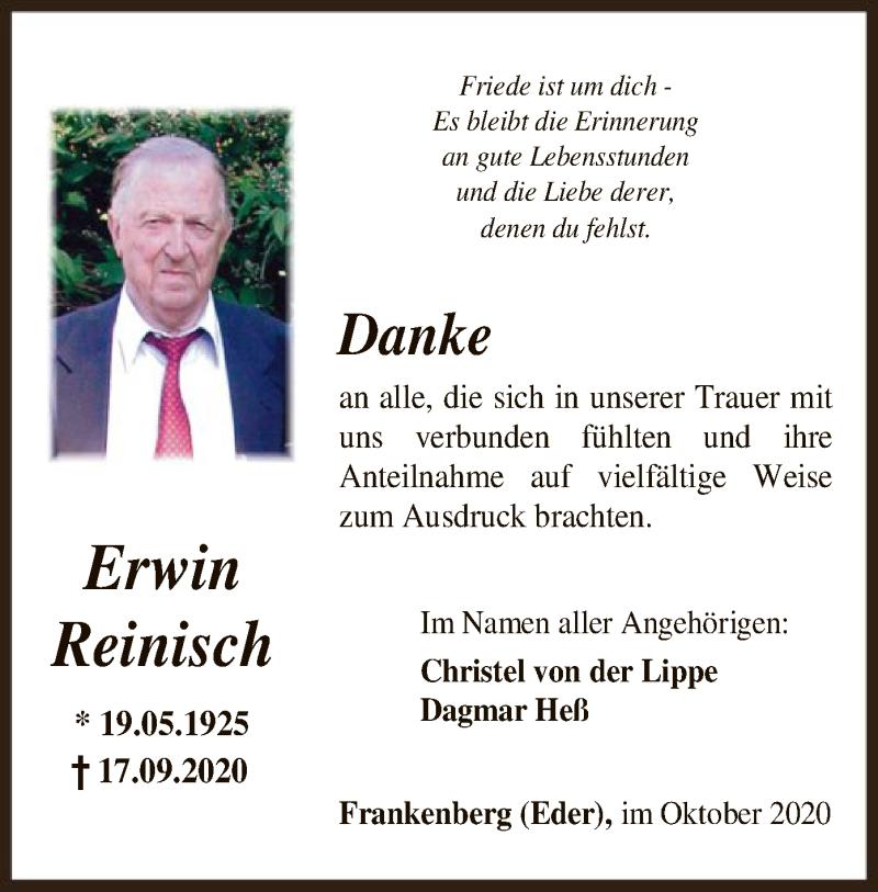 Traueranzeige für Erwin Reinisch vom 24.10.2020 aus HNA