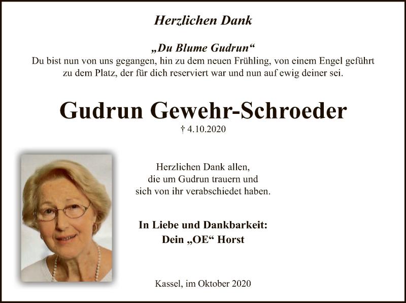 Traueranzeige für Gudrun Gewehr-Schroeder vom 31.10.2020 aus HNA