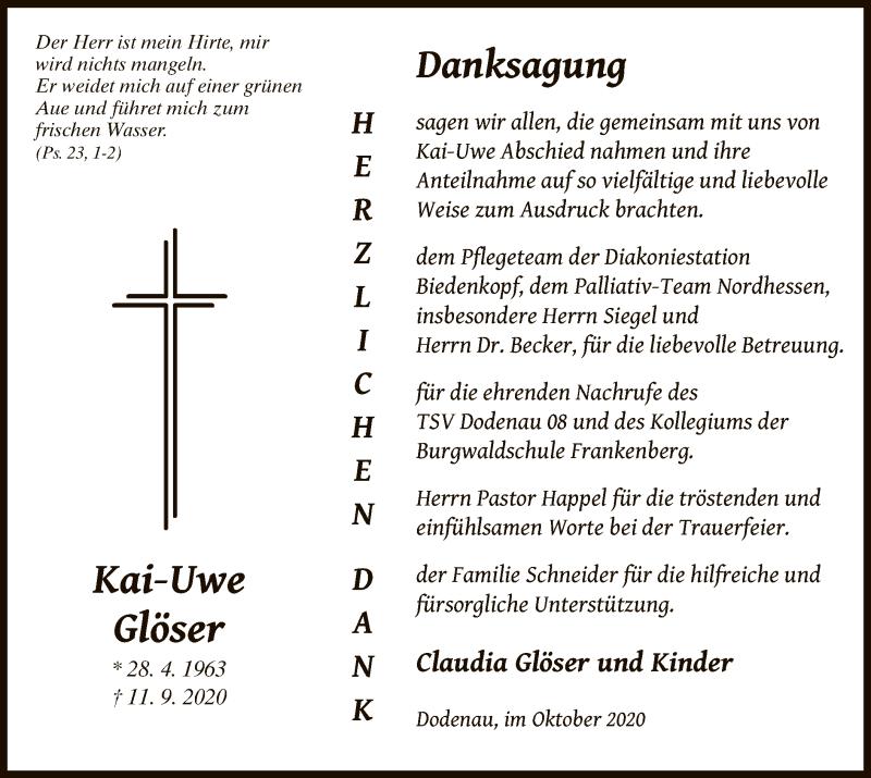 Traueranzeige für Kai-Uwe Glöser vom 23.10.2020 aus HNA