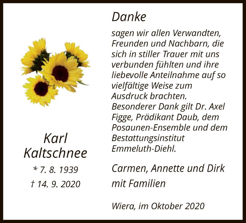 Traueranzeige für Karl Kaltschnee vom 17.10.2020 aus HNA