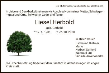 Traueranzeige von Liesel Herbold von HNA