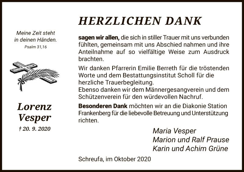 Traueranzeige für Lorenz Vesper vom 24.10.2020 aus HNA