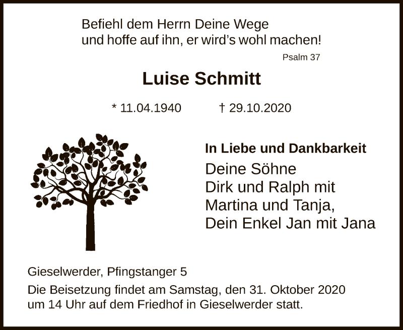 Traueranzeige für Luise Schmitt vom 31.10.2020 aus HNA