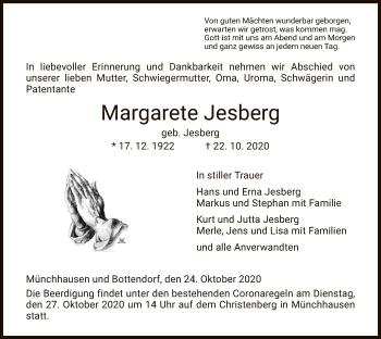 Traueranzeige von Margarete Jesberg von HNA