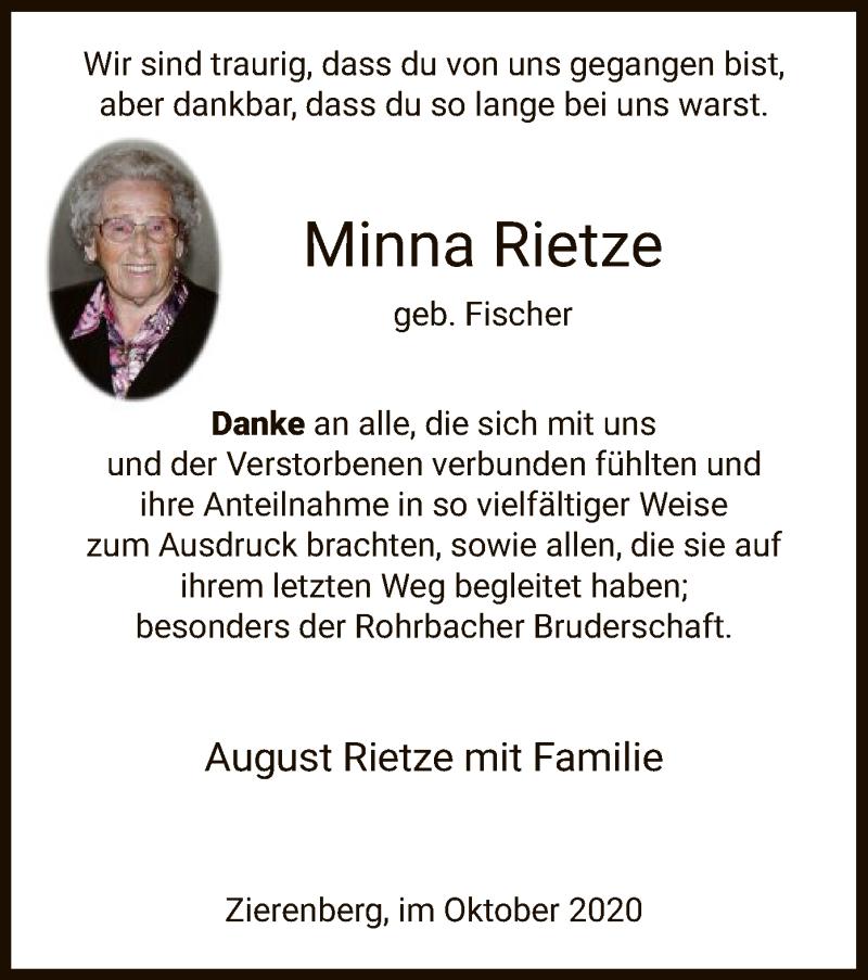 Traueranzeige für Minna Rietze vom 03.10.2020 aus HNA