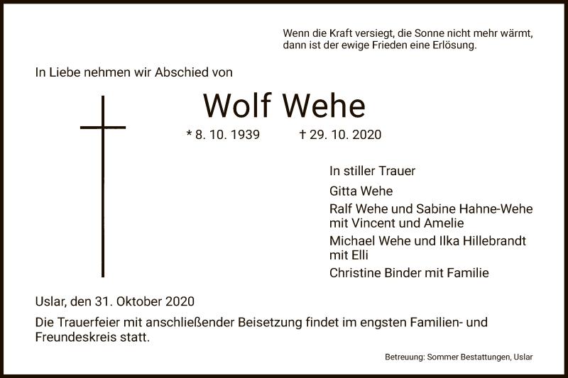 Traueranzeige für Wolf Wehe vom 31.10.2020 aus HNA