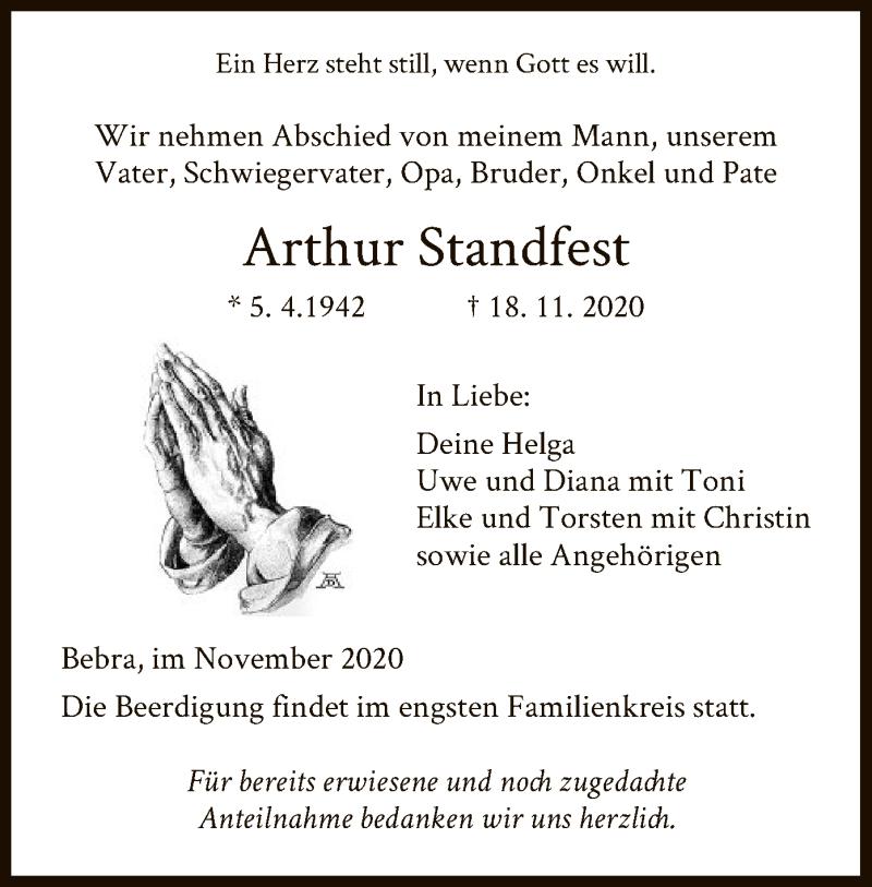 Traueranzeige für Arthur Standfest vom 21.11.2020 aus HNA