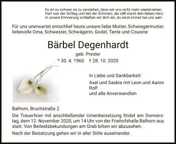 Traueranzeige von Bärbel Degenhardt von HNA