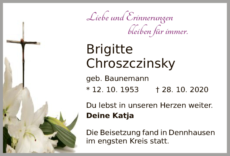 Traueranzeige für Brigitte Chroszczinsky vom 14.11.2020 aus HNA