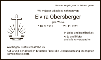 Traueranzeige von Elvira Obersberger von HNA