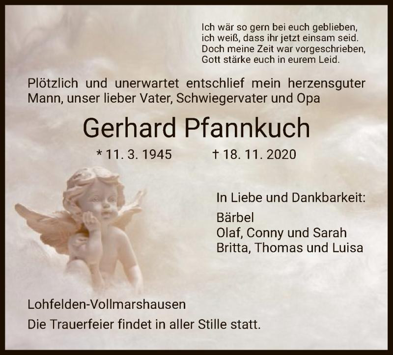 Traueranzeige für Gerhard Pfannkuch vom 21.11.2020 aus HNA