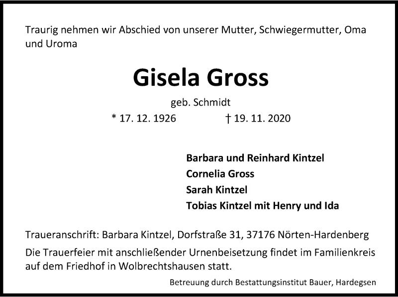 Traueranzeige für Gisela Gross vom 21.11.2020 aus HNA