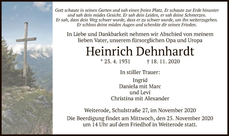 Traueranzeige für Heinrich Dehnhardt vom 21.11.2020 aus HNA