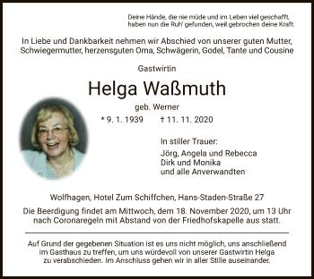 Traueranzeige von Helga Waßmuth von HNA