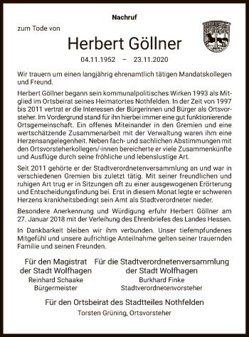 Traueranzeige von Herbert Göllner von HNA