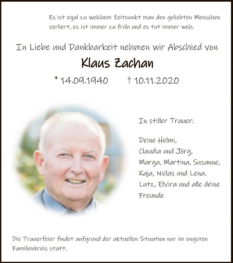 Traueranzeige für Klaus Zachan vom 18.11.2020 aus HNA