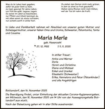 Traueranzeige von Maria Merle von HNA