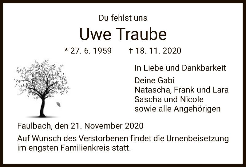 Traueranzeige für Uwe Traube vom 21.11.2020 aus HNA