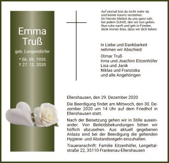 Traueranzeige von Emma Truß von HNA