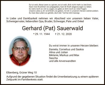 Traueranzeige von Gerhard Sauerwald von HNA