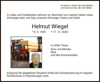 Traueranzeige von Helmut Wiegel von HNA