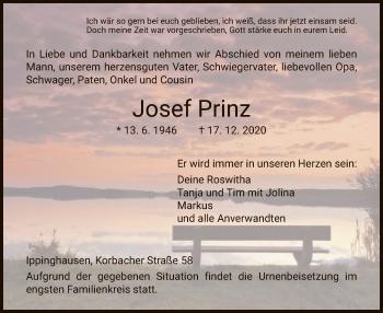 Traueranzeige von Josef Prinz von HNA